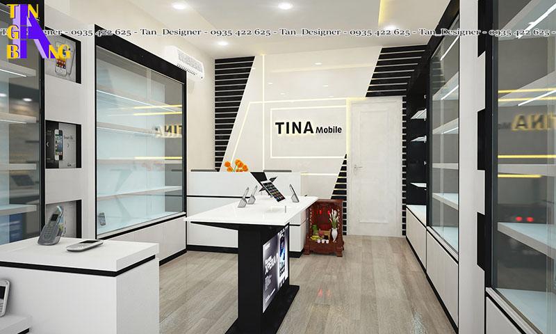 thiết kế shop điện thoại Tina ở Bình Dương
