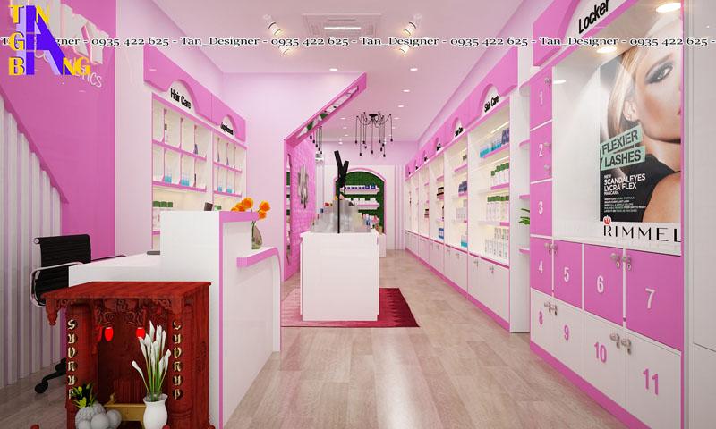 Thiết kế shop mỹ phẩm Pink với màu hồng cực kỳ nữ tính