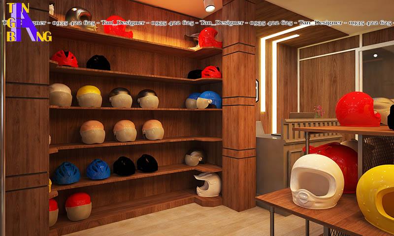 Thiết kế shop mũ bảo hiểm chính hãng ở Tp HCM