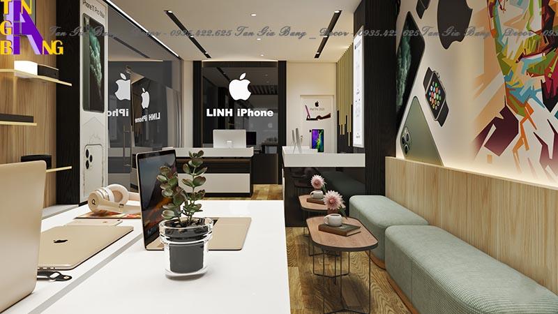 Thiết kế bàn ghế chờ cho shop điện thoại Linh Iphone ở tại Đồng Nai