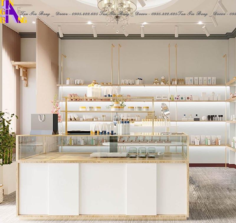 Thiết kế tủ trưng bày cho shop mỹ phẩm ở Bình Thuận