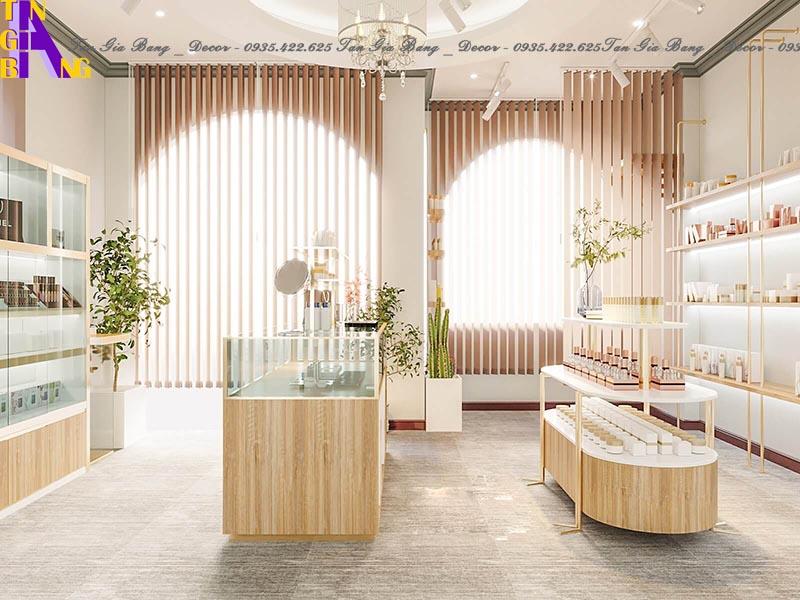 Thiết kế tủ trưng bày đẹp cho shop mỹ phẩm ở Bình Thuận